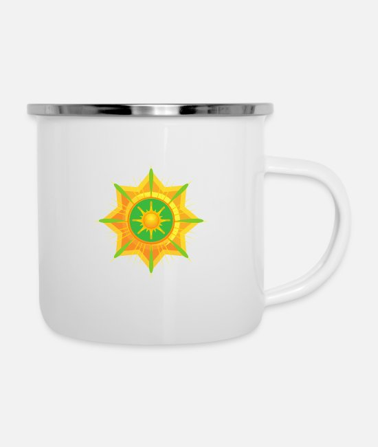 Beach Mugs & Cups - Sun Abstract - Enamel Mug white