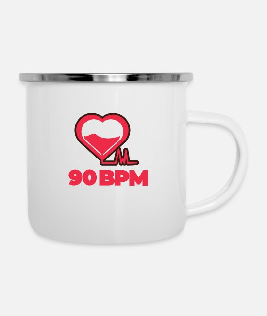 Heart Mugs & Cups - 90 BPM Music Love - Enamel Mug white