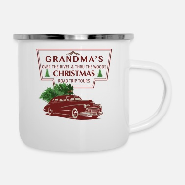 Grandma Christmas Road Trip Tour (red text) - Enamel Mug