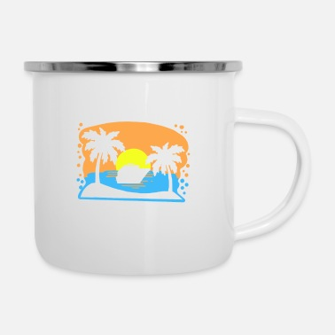 Ocean Liner Cruise Ship Ocean Liner with Sunset Saying Gift - Enamel Mug