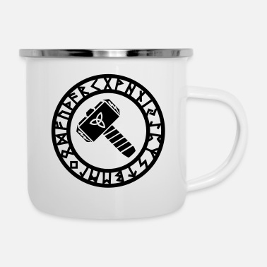 Sign Heavy Witches Thors Hammer, Runes, Triquetra, Mjolnir, Pagan - Enamel Mug
