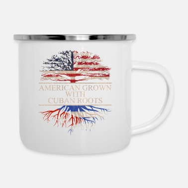 Cuban Roots Design American grown with cuban roots - Enamel Mug