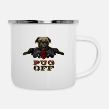 Pug Off - Angry Pug with Gun - Enamel Mug