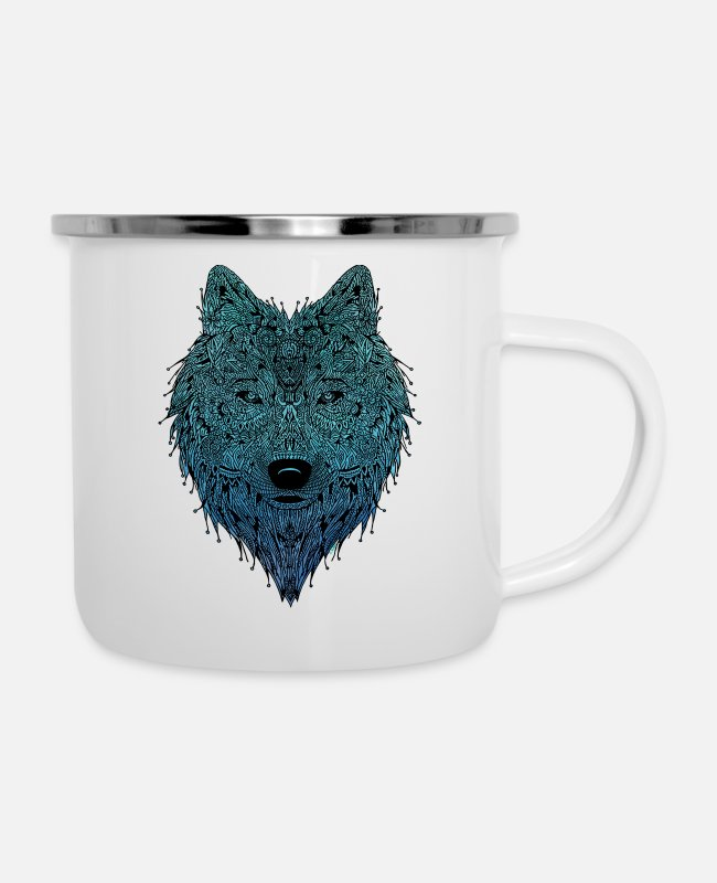 Graphic Art Mugs & Cups - SKY wolf - Enamel Mug white