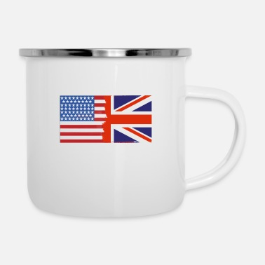 Nottingham Flag Half Uk Half USA Flags - Enamel Mug