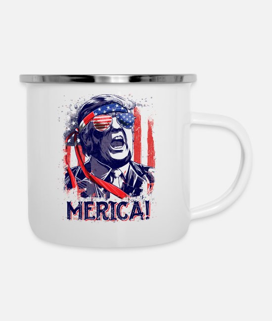 American President Mugs & Cups - Trump Merica T Shirt 4th of July Men Boys Kids - Enamel Mug white