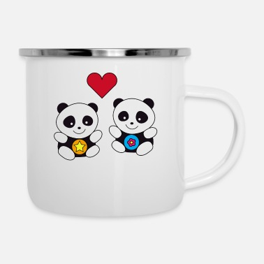 Kids Kawaii Baby Panda Siblings Love Boys Girls - Enamel Mug