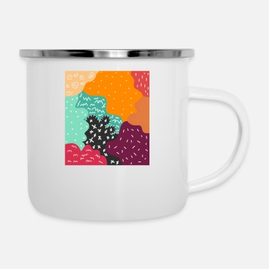 Graphic Art Abstract Graphic Art - Enamel Mug