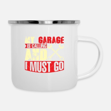 Windows My garage ist calling so i have to go mechanic fun - Enamel Mug