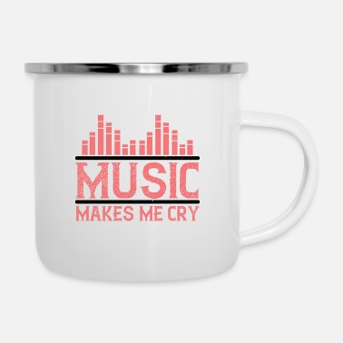 Dj Design Music Makes Me Cry - Enamel Mug