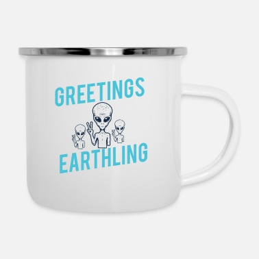 Form Greetings Earthlings alien shirt space science - Enamel Mug