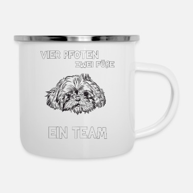 Feet Four Paws Two Feet A Team Shih Tzu - Enamel Mug