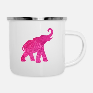 Mandala Elephant Mandala India pink Meditation Animal Yoga - Enamel Mug