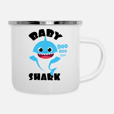 Baby Baby Shark Design in Blue for Boy Doo Doo Gift - Enamel Mug