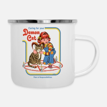 Smiffys caring for your demon cat - Enamel Mug