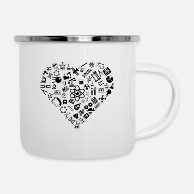 Experience I Love Science | Lab Heart Logic Atheist - Enamel Mug