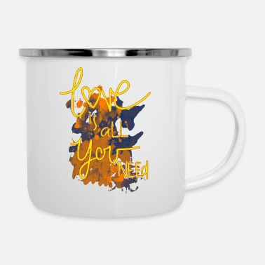 Graphic Art Love is all you need Title of Creativity Text - Enamel Mug