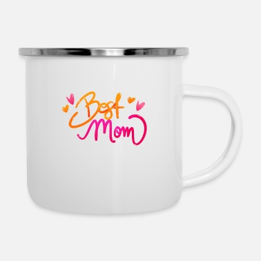 Typography Best Mom Typography - Enamel Mug
