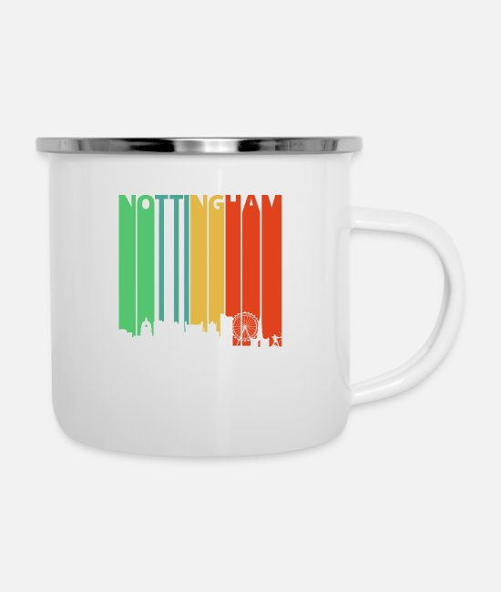 Nottingham Mugs & Cups - Vintage Retro Nottingham Skyline. Cityscape Gifts - Enamel Mug white