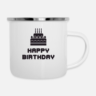 happy birthday cake - Enamel Mug