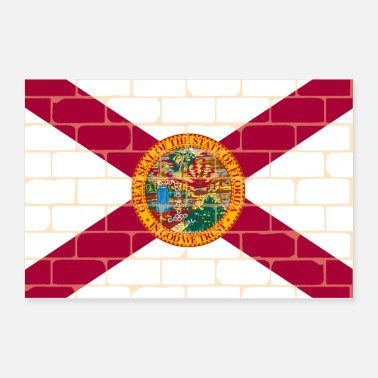 Brick Florida Flag Wall Graffiti - Poster