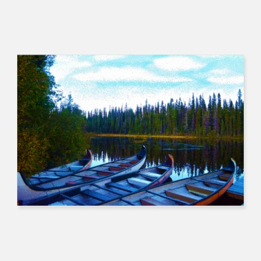 Wilderness Canoe Colony McGillivray Lake Wilderness Art - Poster