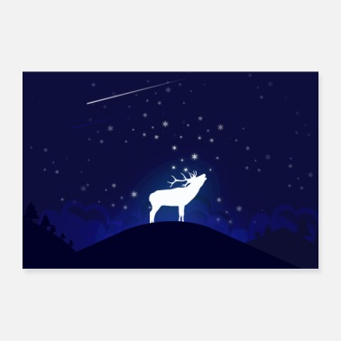 Sweden Moose Night - Poster 36x24