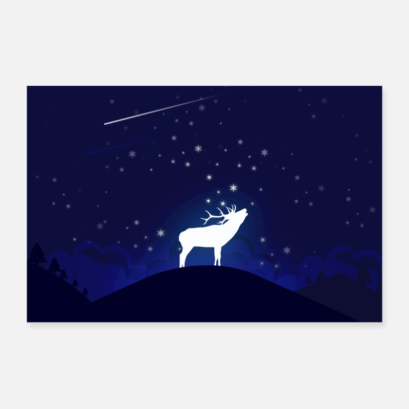 Skies Posters - Moose Night - Posters white