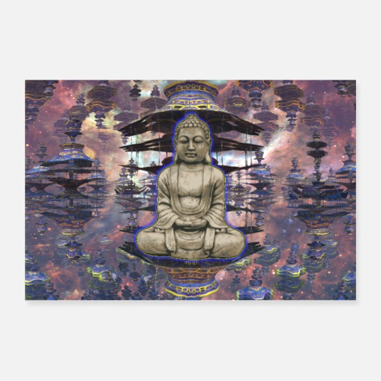 Serenity Posters - Buddha in Zen with Pagoda Temple Abstract - Posters white