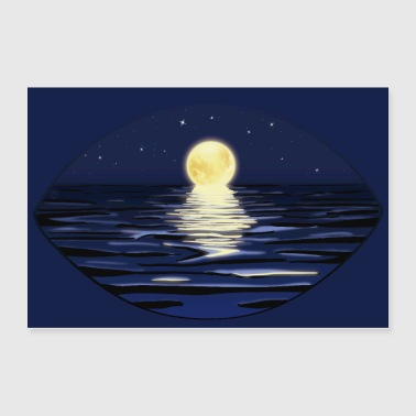 Summer Full Moon Night at the sea | Poster - Poster 36x24