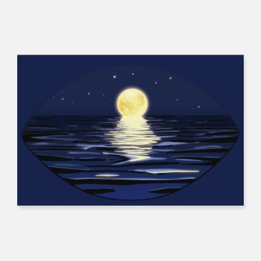 Perspective Summer Full Moon Night at the sea | Poster - Poster
