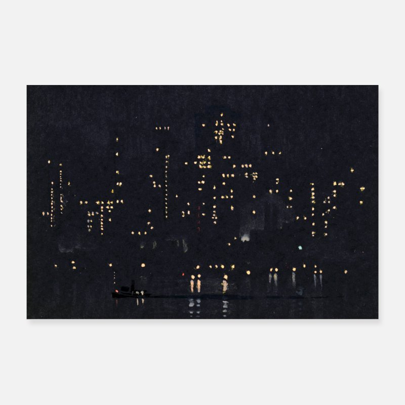 White Posters - Night Lights of Manhattan - Posters white