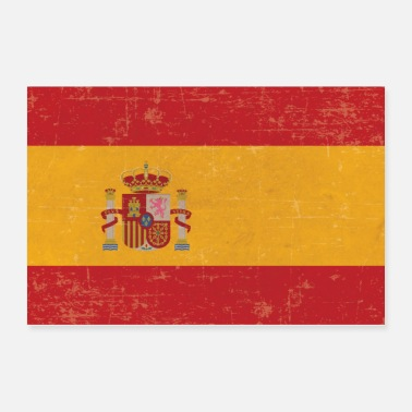 Spanish Old scuffed Spain flag gift idea - Poster 36x24