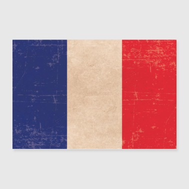 Old scuffled France flag gift idea - Poster 36x24