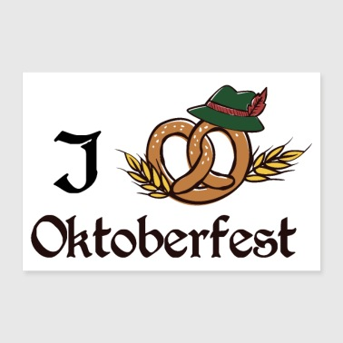 Tradition I love Oktoberfest brezel at traditional Giftidea - Poster 36x24