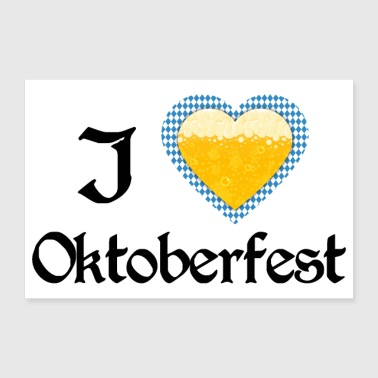 Tradition I love Oktoberfest Bavarian blue beer heart - gift - Poster 36x24