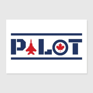 Aircraft Nose Art Pilot Canada Maple Leaf Blue - Poster 36x24