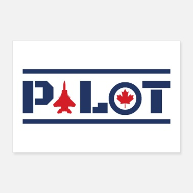 Canada Aircraft Nose Art Pilot Canada Maple Leaf Blue - Poster 36x24