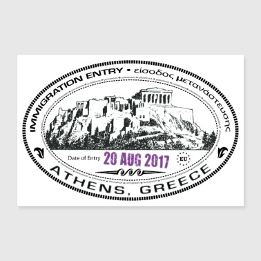 Greece Passport Stamp - Poster 36x24