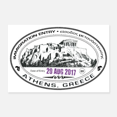 Stamp Greece Passport Stamp - Poster 36x24