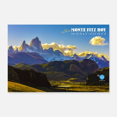 South America Vintage Monte Fitz Roy Travel Poster - Poster 36x24
