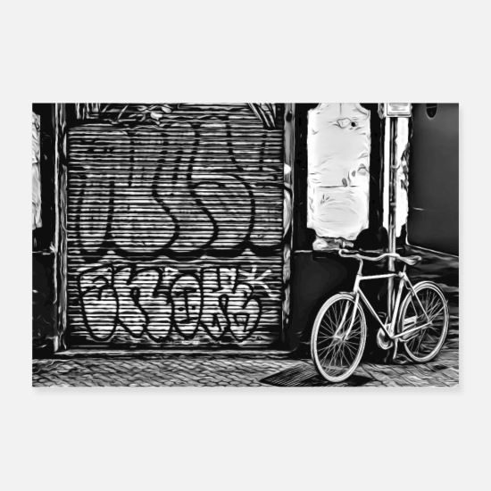 Washington Posters - DC 120 B & W Graffiti - Posters white