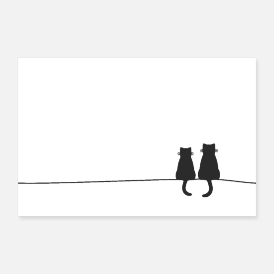 Love Posters - Cats Cats Couple Love Gift Decoration - Posters white