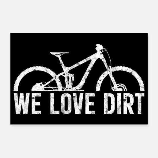 Biker Posters - mountain bike cycling bicycle downhill MTB poster - Posters white