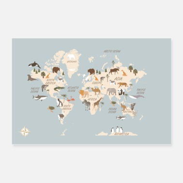 World Map World Map With Animals EN - Poster