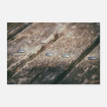 Wooden Screw details on wooden planks painting - Poster