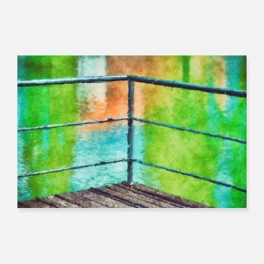 Mediterranean At the colorful docks - watercolor painting - Poster