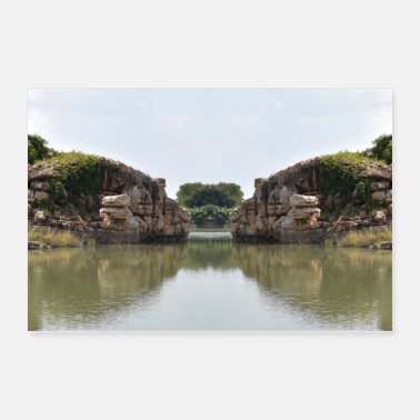 Scenery Beautiful Snap of Hill and Lake - Poster