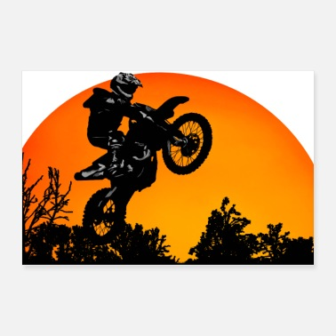 Racing Motorcycle Motorcycle Sunset - Poster