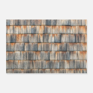 Wooden Shingles aged wooden background . Weathered shakes - Poster